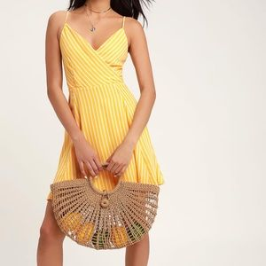 Lulu's Jayla Yellow Striped Tie Back Skater Dress